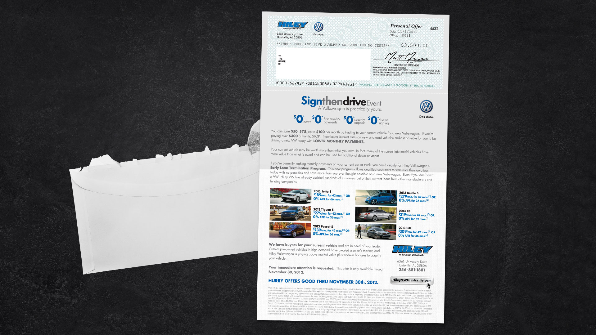 Direct Mail: Hiley VW Sign and Drive
