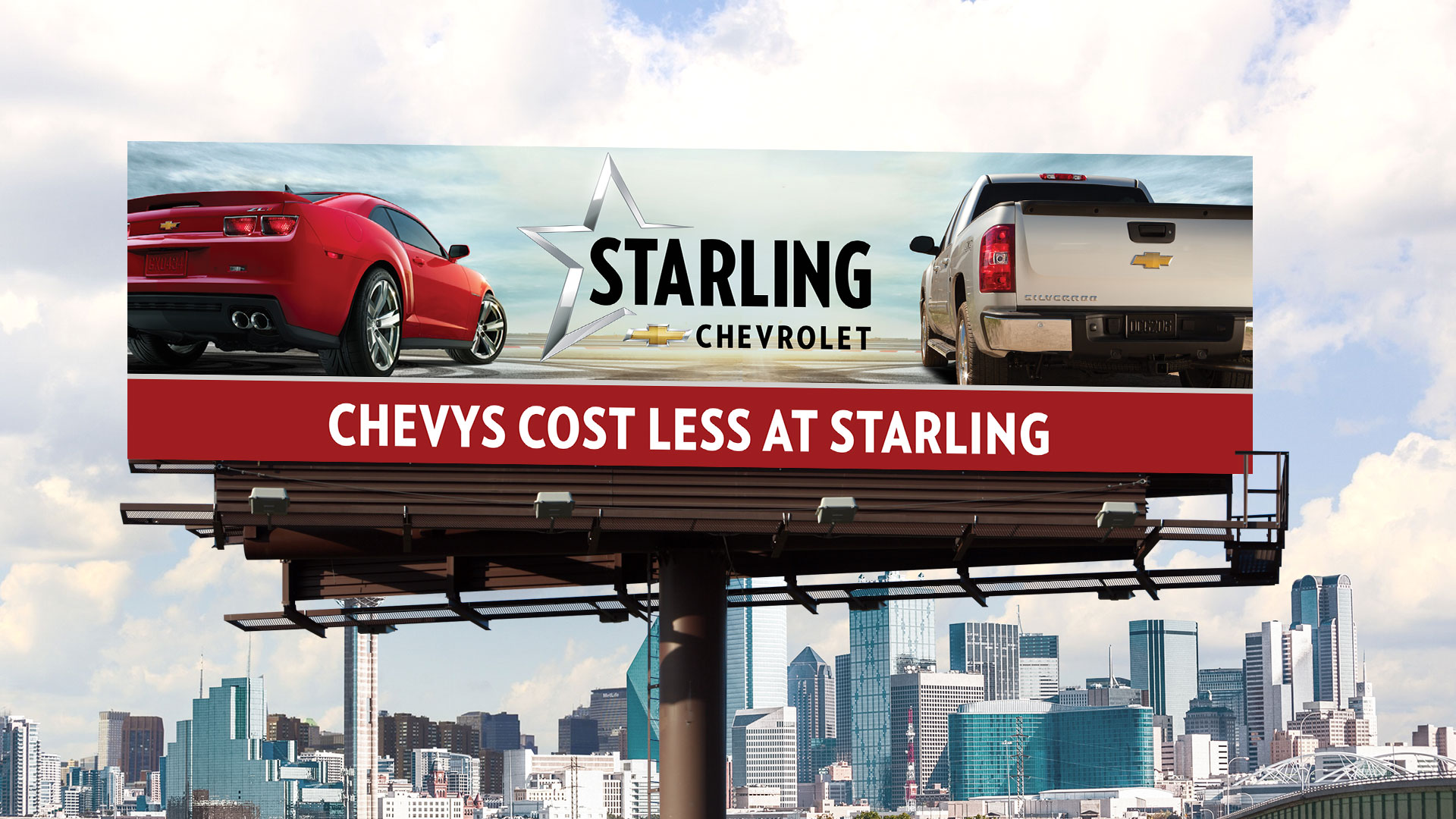 Billboard: Starling Chevrolet Chevys Cost Less