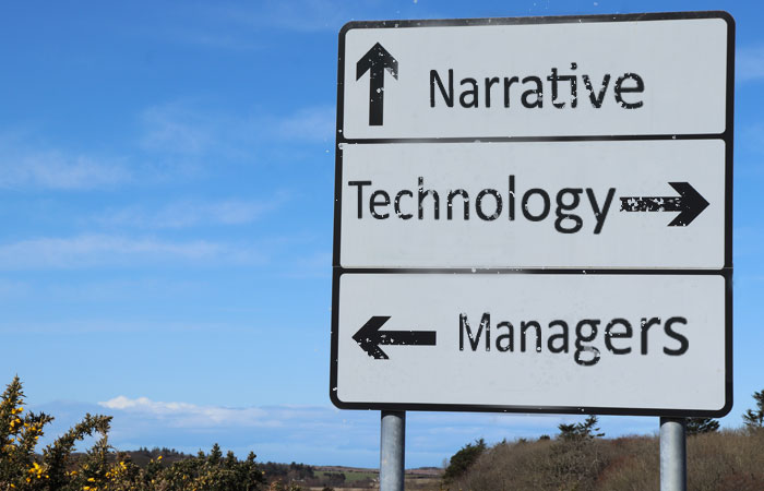 Road sign with three directions for narrative, technology, and managers