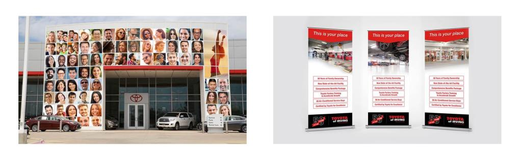 Creative campaign graphic and pop up banners