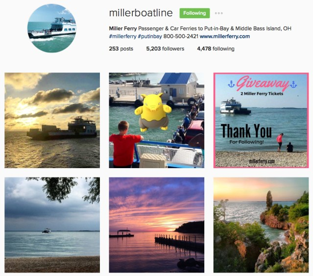 Miller Ferry Instagram sunset photos with views of lake erie