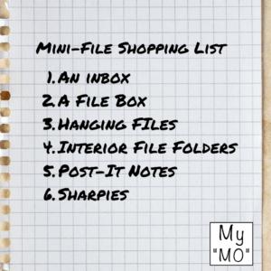 Mini-File Shopping List to Get Organized