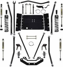 rock krawler suspension 5 5 inch long arm lift kit w shocks 8 inch stretch [ 1200 x 1200 Pixel ]