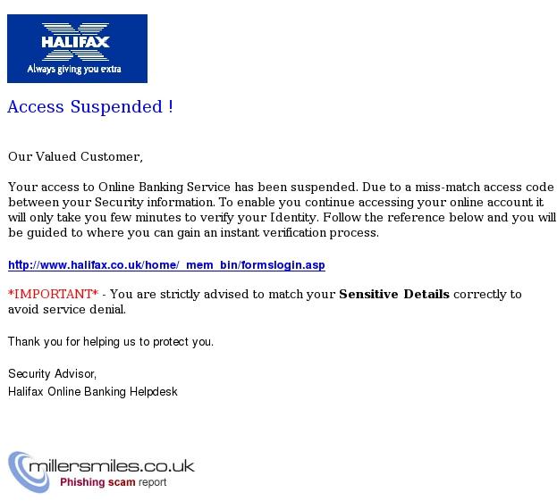 Halifax Online Banking Helpdesk Account Suspended Halifax Phishing Scams Millersmiles Co Uk