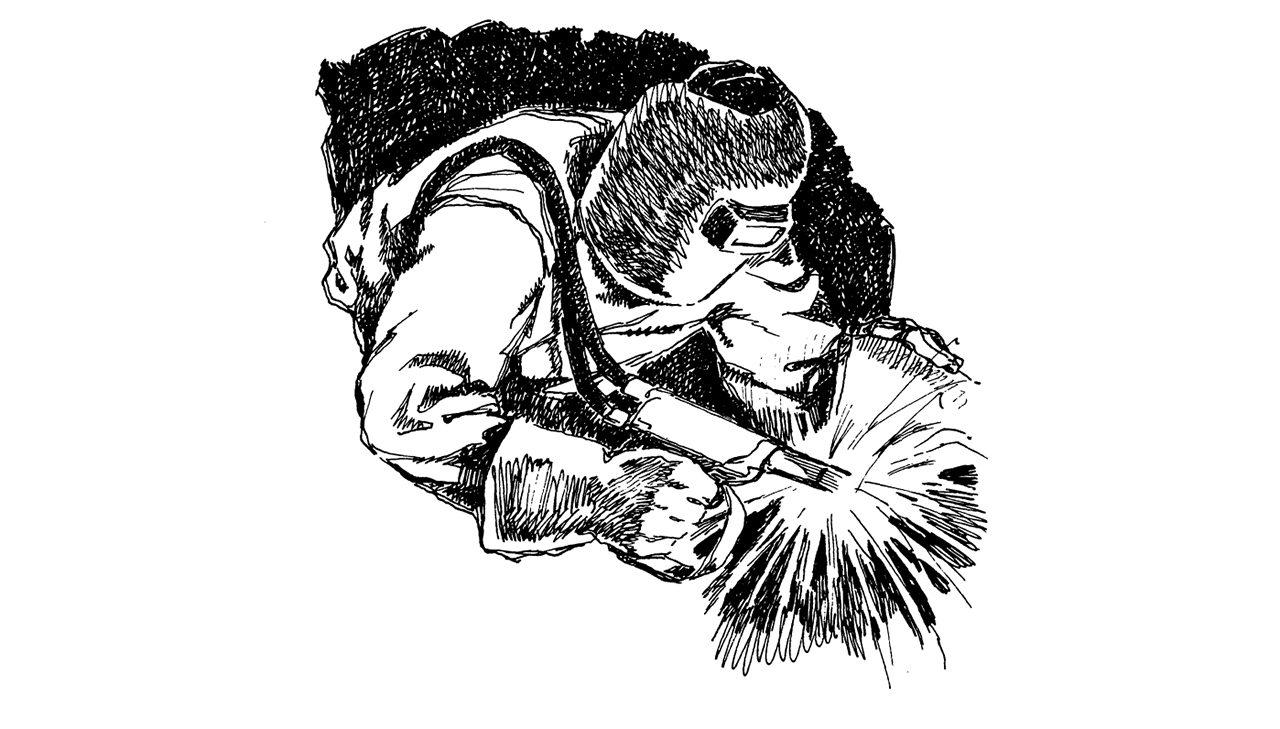 medium resolution of drawing of person welding