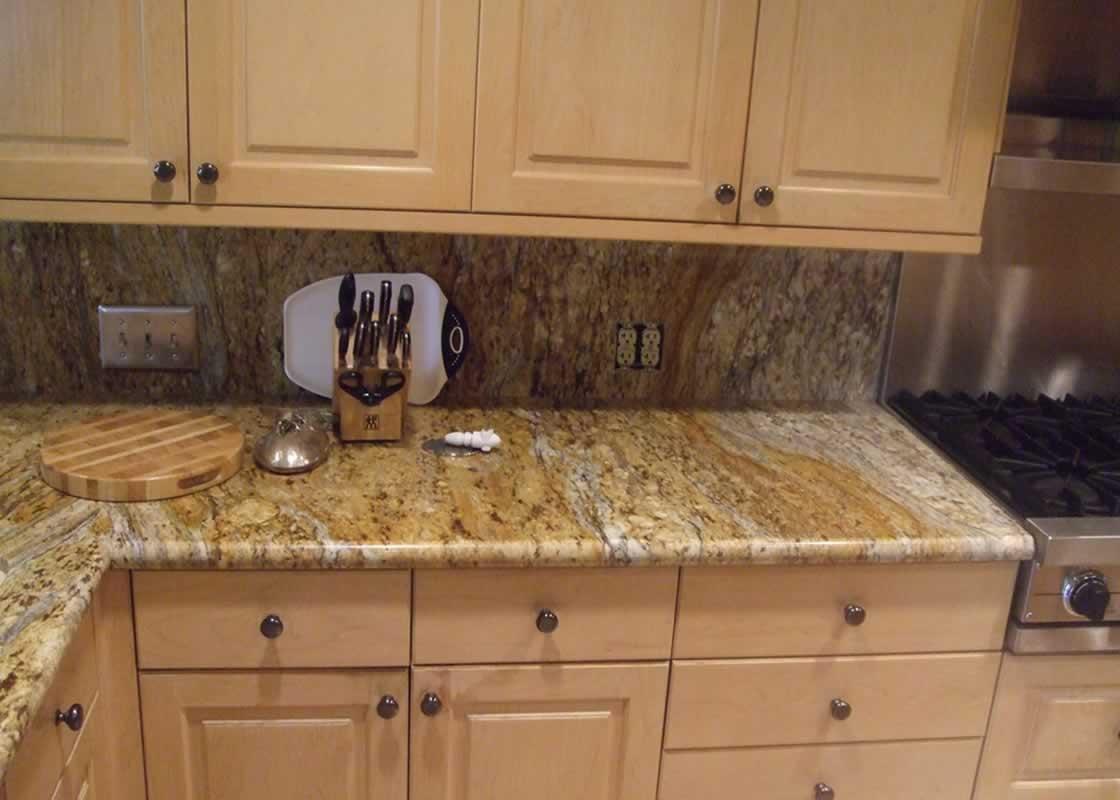 Caramel Brown Granite Kitchen | MilleStone Marble & Tile