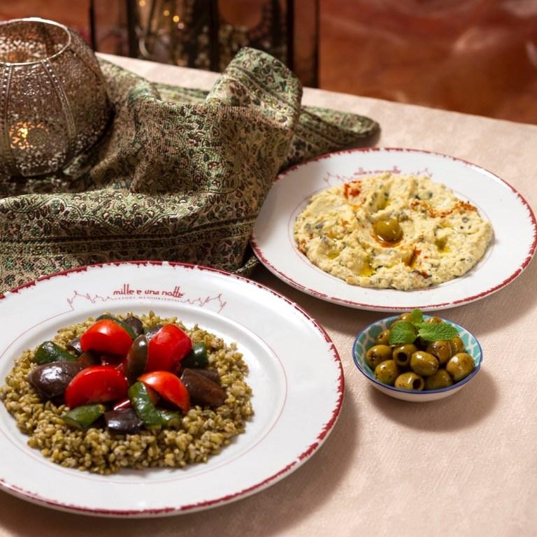 Frika con verdure con olive marinate e Kusa