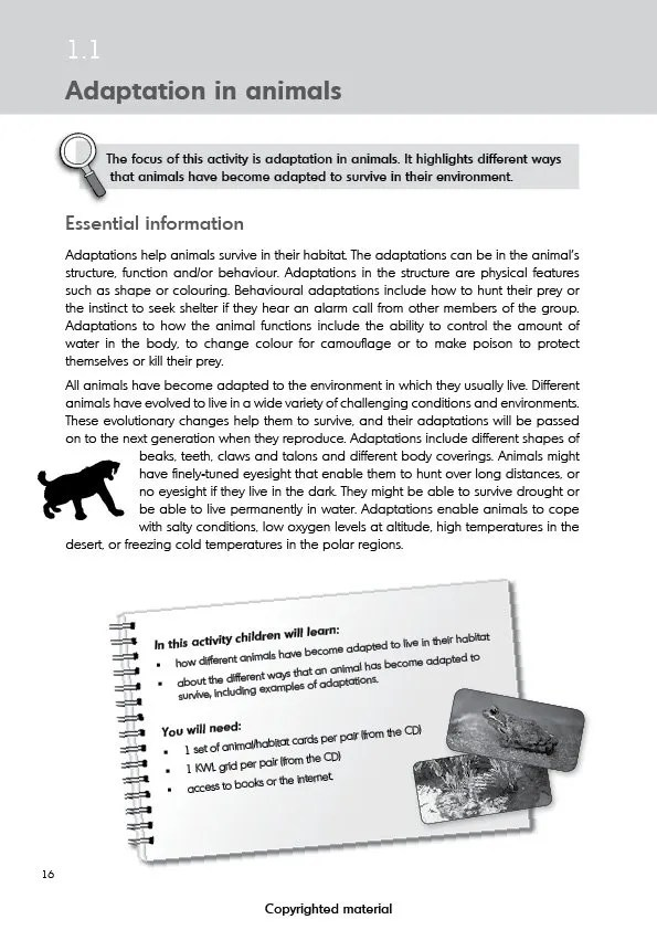 Teaching evolution in primary schools - Activity 1