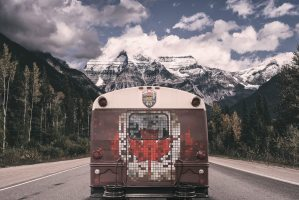 Million Dollar bus on the road