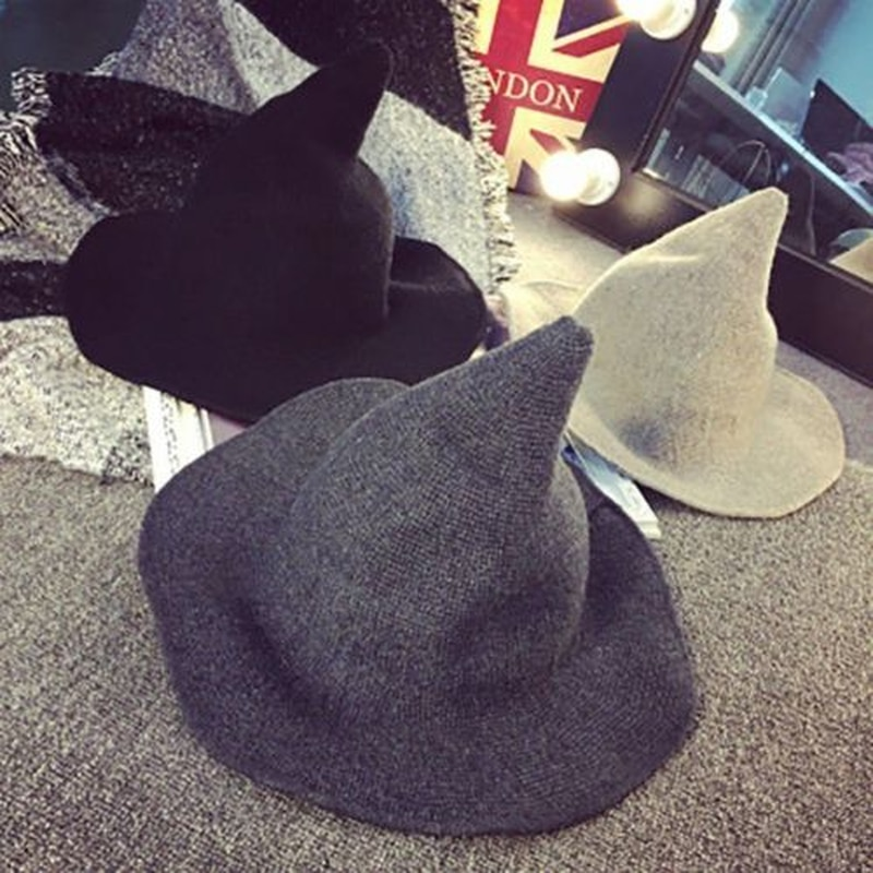 US Modern Witch Hat Made From High Quality Sheep Wool Halloween Party Witch Hats