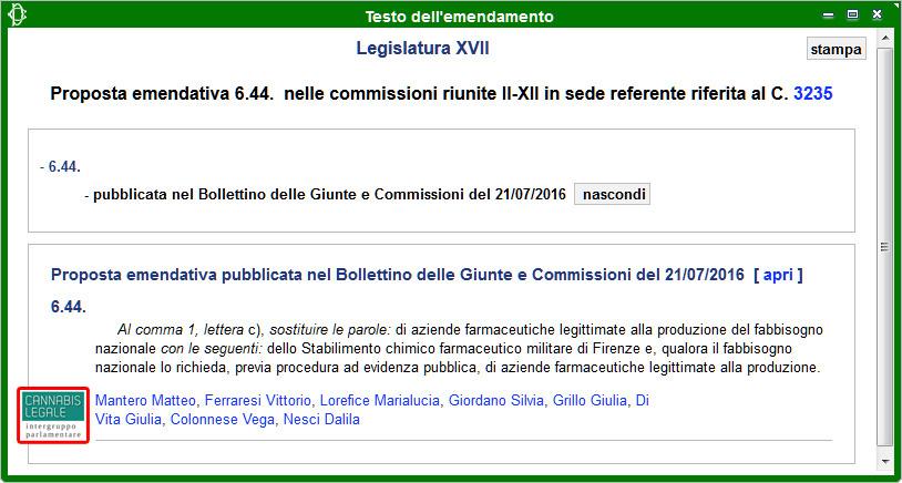 Intergruppo Cannabis Legale: Emendamento 6.44 alla Propoposta di Legge sulla Legalizzazione