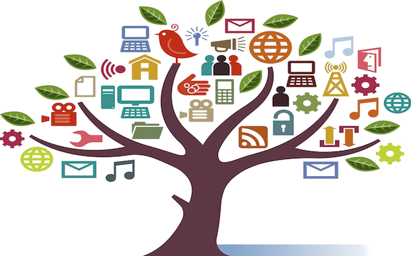A tree with different resources like website, email, social media