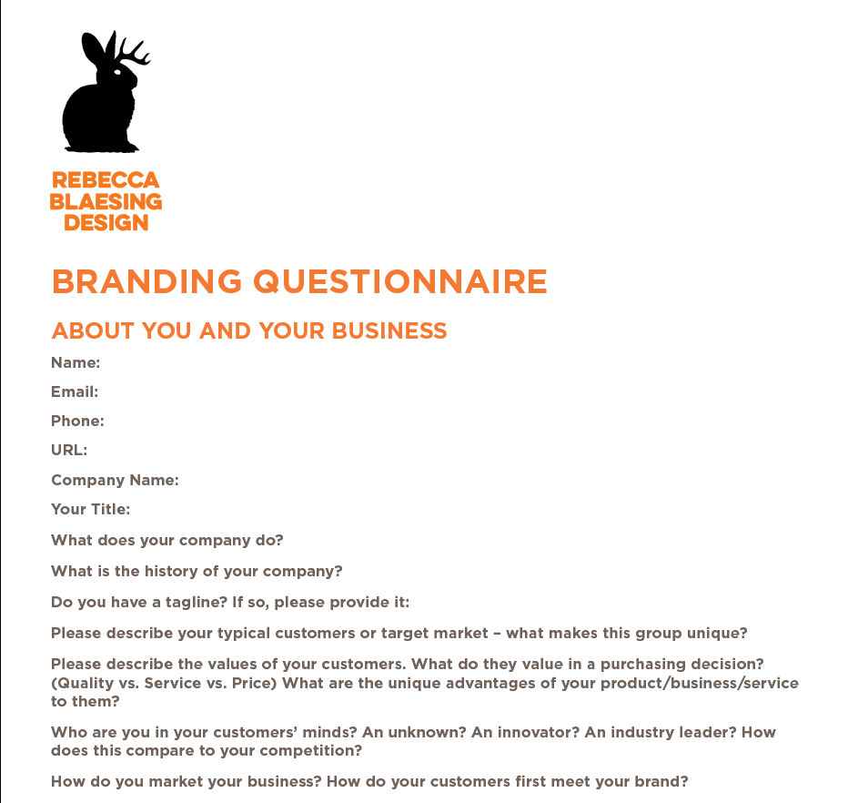 Branding Questionnaire Sample + How to Create Your Own