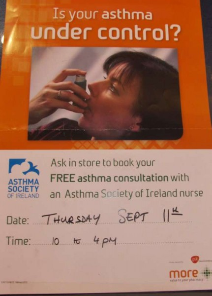 Asthma Clinic in Mulcahy's Pharmacy from 11am-5pm on
