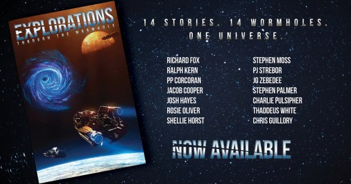 Banner shows starfield background and cover of Through The Wormhole. Image also features the list of authors included in the anthology in a silver-metallic effect font