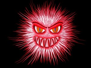 Image of a demon, red beast with fangs and spines.