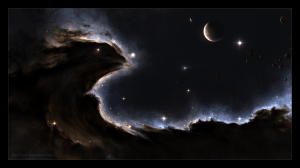 Nebula image features a dragon or pheonix space ship and planets Link to art https://sniper115a3.deviantart.com/art/The-Dragon-Nebula-261721798
