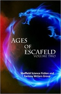 Ages of Escafeld, Volume Two coveer is black with some red smoke detail to the left centre. In the foreground there is a Eastern stylised dragon chasing its tale. With the title in the centre of the circle the fantasy creature makes. The title is white, the dragon is blue.