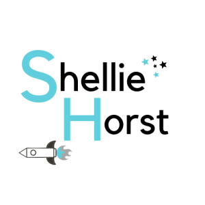 Speculative Fiction Author Logo for Shellie Horst -captials in teal - with Science Fiction Element, Rocket Ship and Fantasy Elements, Stars