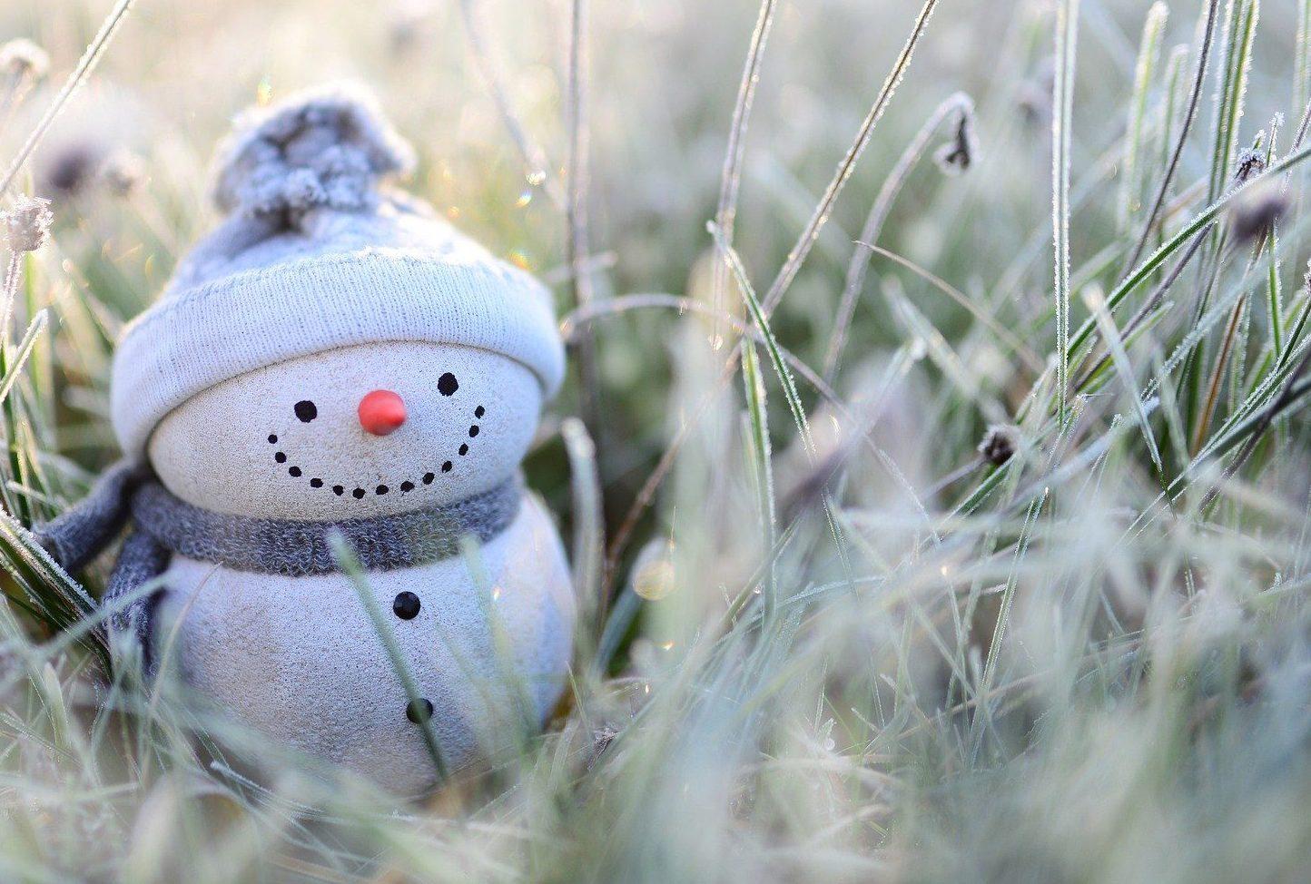Ornamental Snowman in a frosty field.