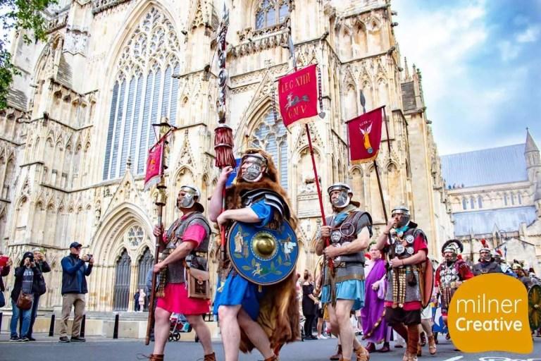 York Roman Festival 2019 marching past York Minster