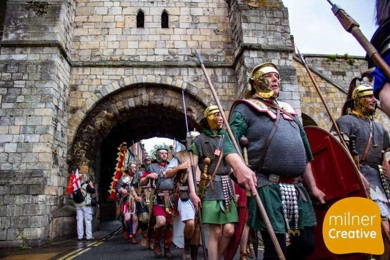 York Roman Festival 2019 marching through Bootham Bar