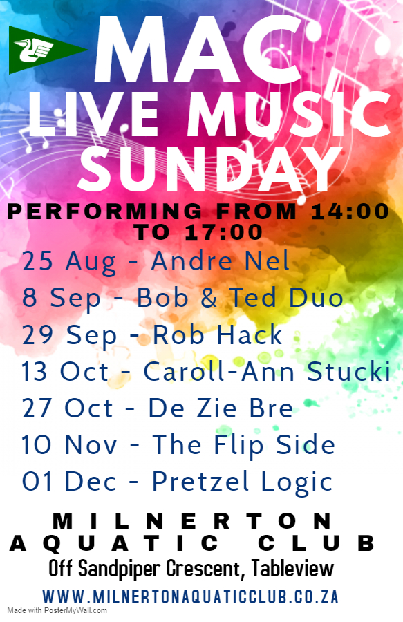 MAC LIVE MUSIC LINE UP FOR 2019 - Date Change - Milnerton