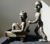 LA CARRIOLE / bronze sur commande / (44 x 45 x 20 cm)
