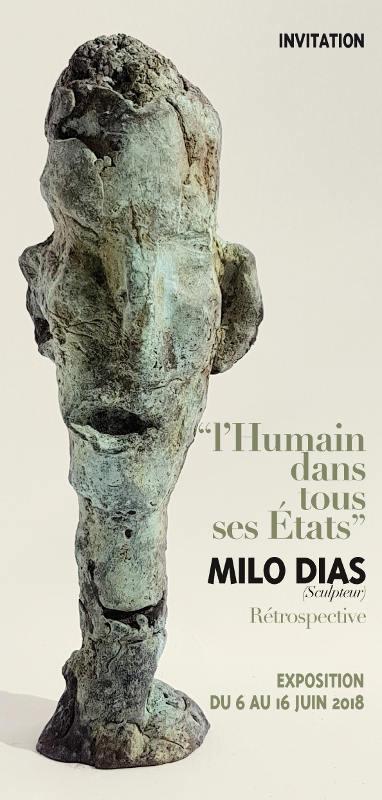 """Carton d'invitation pour l'exposition d'Art Contemporain appelé """"L'Humain dans tous ses Etats""""."""