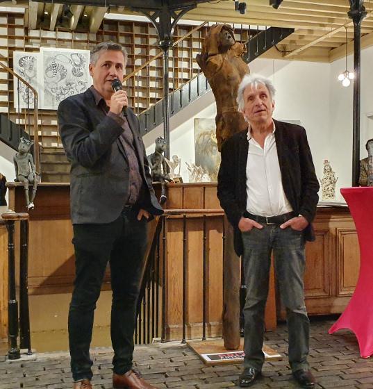Ludovic Duhamel et Gilles Naudin, remise des prix du MIFAC lors du salon de Figuration Critique en 2019