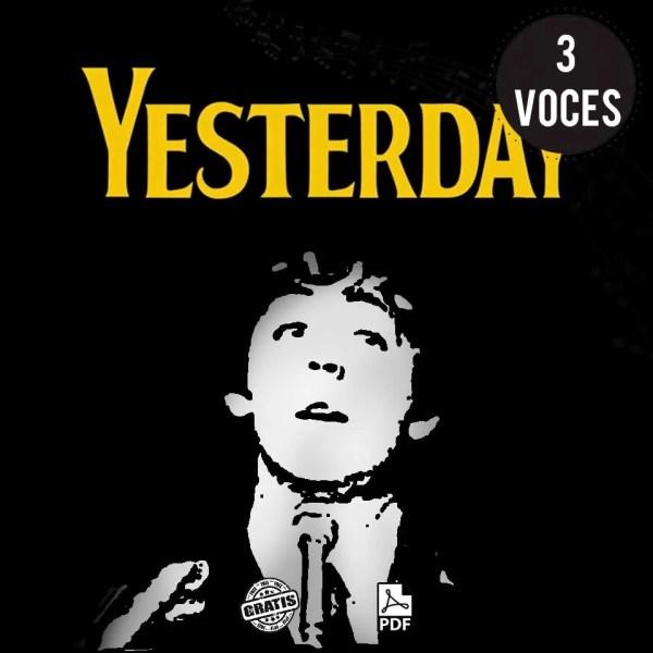 Yesterday partitura para coro a 3 voces gratis the Beatles por Milo Lagomarsino