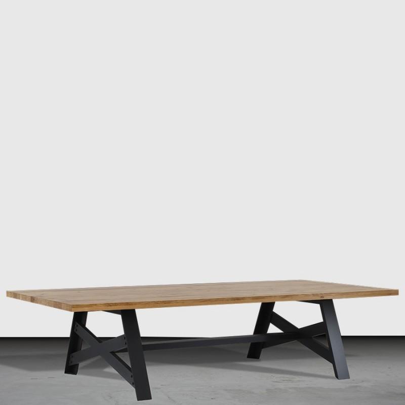 table basse pieds fer croix factory plateau en chene massif finition chene naturel milome