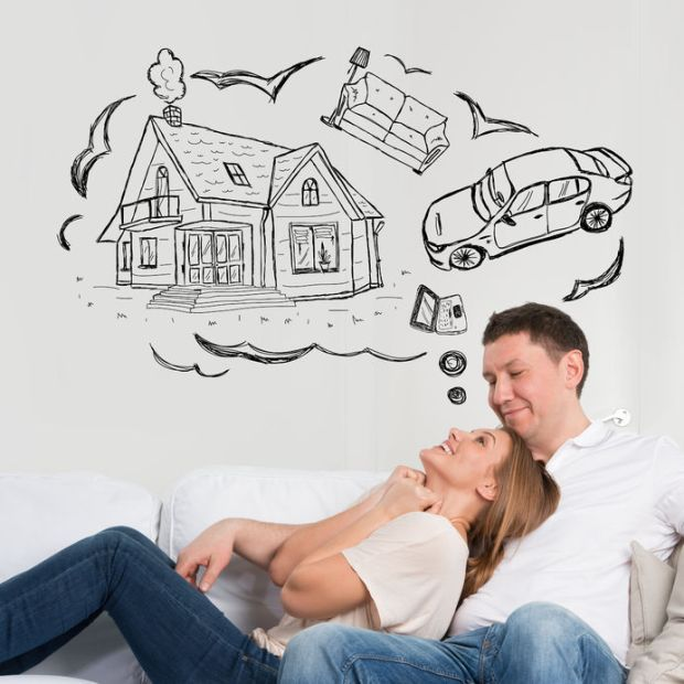 29940970 - mortgage and credit concept. adult couple planning their future