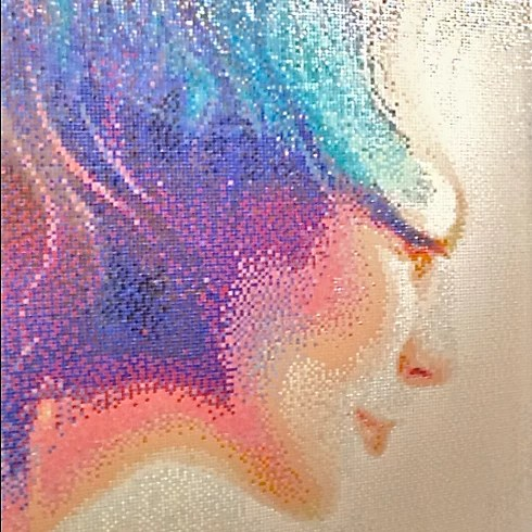 Spiritual woman long colored hair glass mosaic