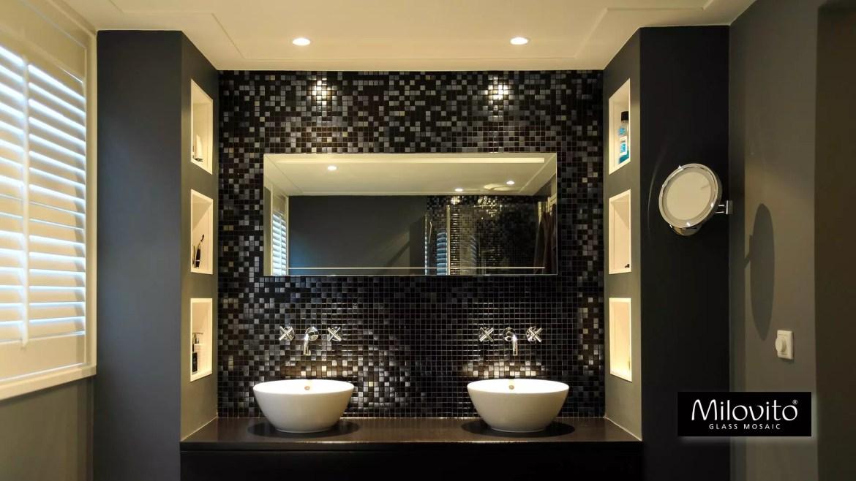 glasmozaïek mozaiek badkamer zwart