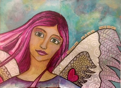 """Art Journal Angel"" Mixed Media"