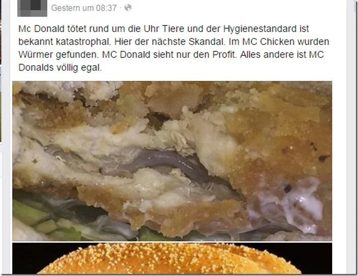 McDonalds ttet Tiere Wrmer im McChicken gefunden Kein Fake  mimikama