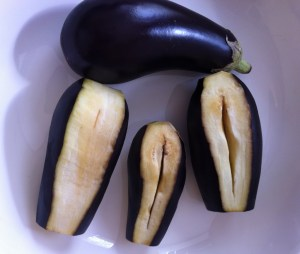 Eggplants Pealed and Cut