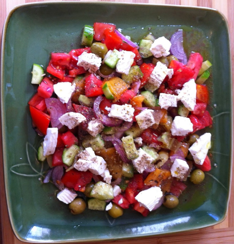 Tomato Cucumber Roasted Pepper Salad