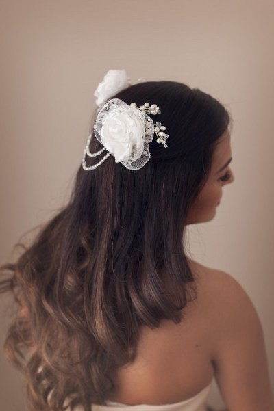 Draped pearls bridal headpiece