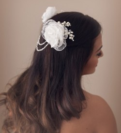 Draped pearls bridal headpiece