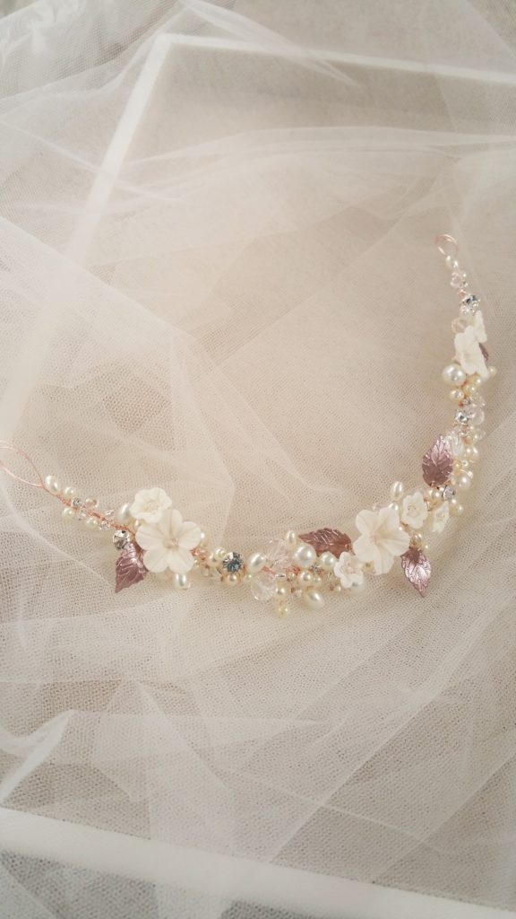 rose gold bridal hairpiece
