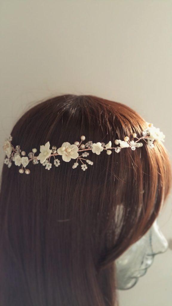 rose gold flower circlet bridal headpiece
