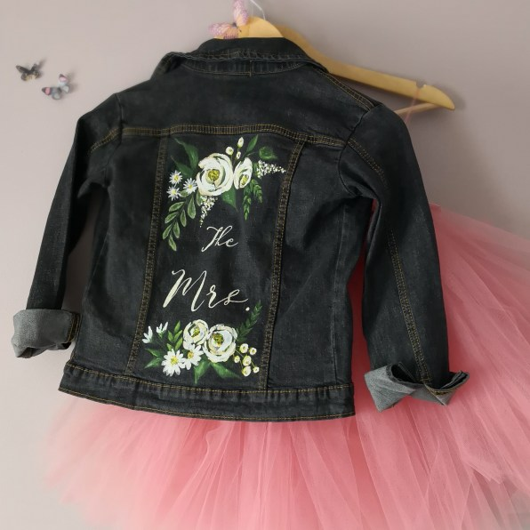 bespoke painted bridal jacket