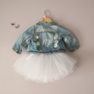 hand painted flower girl jacket