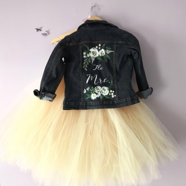 tulle tutu skirt and bridal denim jacket