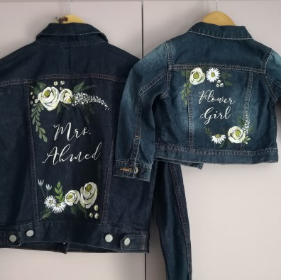 bridesmaid painted denim wedding jacket