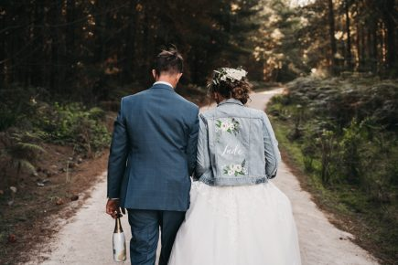 wedding inspo painted denim bridal jacket