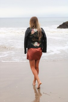 painted floral wedding leather jacket