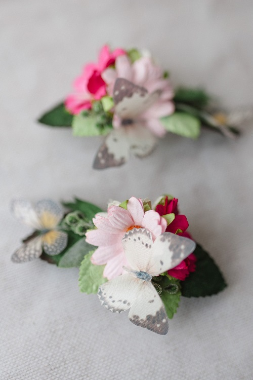 butterfly pink daisy hair clips